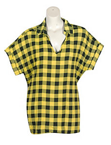 Yellow Plaid Top by Unique