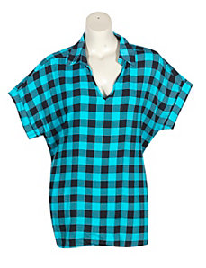 Turquoise Plaid Top by Unique