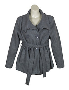 Gray Belted Wrap Coat by Last Kiss