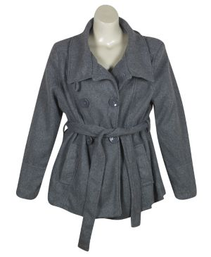 Gray Belted Wrap Coat