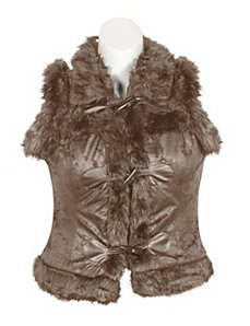 Brown Fur Vest by Last Kiss