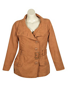 Camel Faux Suede Jacket by Last Kiss
