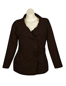 Brown Faux Suede Jacket by Last Kiss
