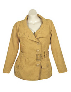 Gold Faux Suede Jacket by Last Kiss