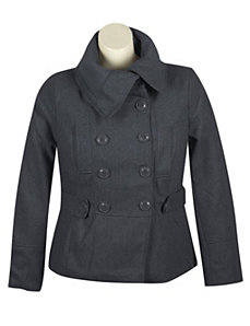 Grey Pea Coat by Last Kiss