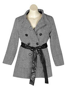 Black Hello Herringbone Coat by Last Kiss