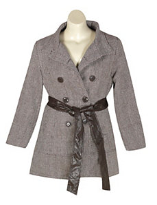 Brown Hello Herringbone Coat by Last Kiss
