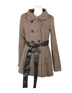Khaki Hello Herringbone Coat by Last Kiss