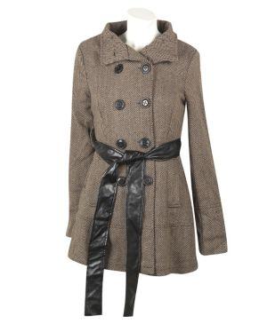 Khaki Hello Herringbone Coat