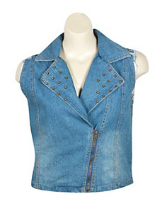 Denim Studded Zipper Vest by Last Kiss