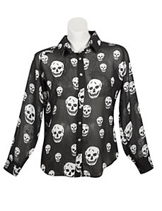 Skull Gold Button Top by Last Kiss