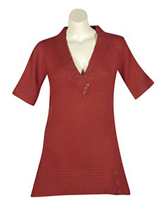 Red Metallic Tunic Sweater by Derek Heart