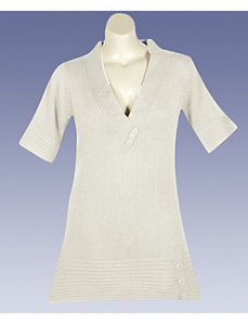 Cream Metallic Tunic Sweater by Derek Heart