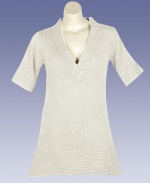 Cream Metallic Tunic Sweater