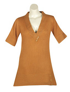 Gold Metallic Tunic Sweater by Derek Heart
