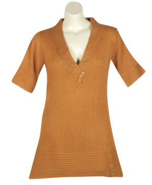 Gold Metallic Tunic Sweater