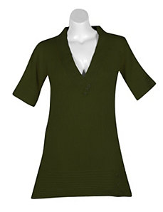 Green Metallic Tunic Sweater by Derek Heart