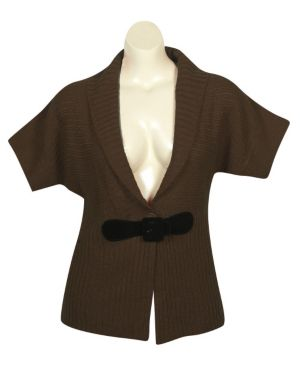 Brown Shawl Collar Cardigan