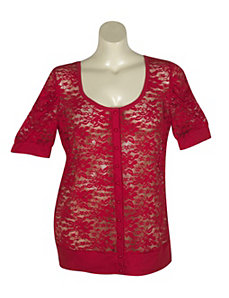 Red Lucy Lace Cardigan by Derek Heart