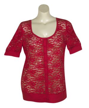 Red Lucy Lace Cardigan