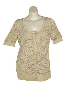 Sand Lucy Lace Cardigan by Derek Heart