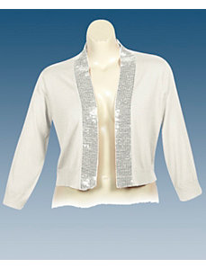 Cream Sequin Shrug by Derek Heart