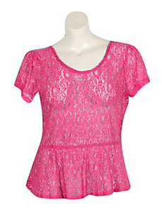 Pink Lace Peplum Top by Derek Heart