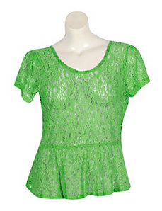 Green Lace Peplum Top by Derek Heart