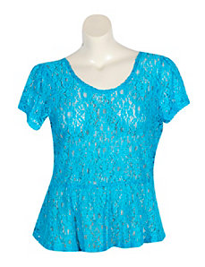 Blue Lace Peplum Top by Derek Heart