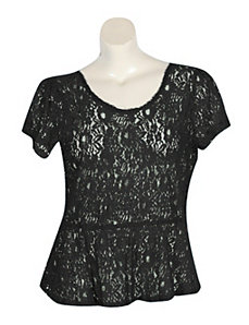 Black Lace Peplum Top by Derek Heart