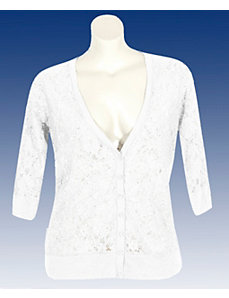 White Lace V-neck Cardigan by Derek Heart
