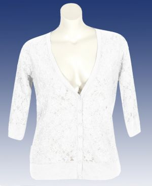 White Lace V-neck Cardigan