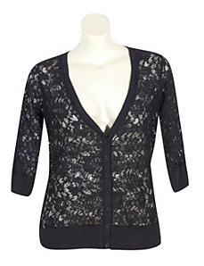 Black Lace V-neck Cardigan by Derek Heart