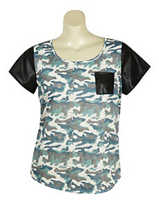 Pleather Camo Tee by Derek Heart