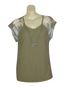 Camo Tee with Necklace by Derek Heart