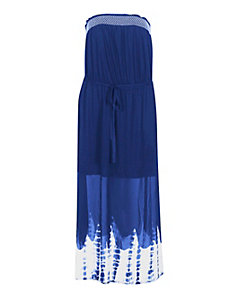 Blue Tie Dye Border Maxi Dress by Derek Lonely Heart