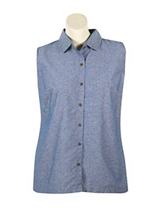 Olive Floral and Chambray Top by French Laundry