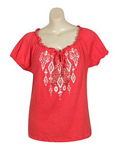 Coral Pleasant Peasant Top by French Laundry