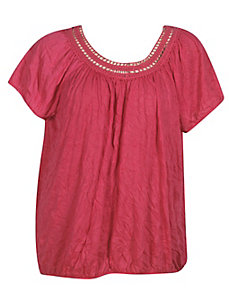 Lace Trim Peasant Top by French Laundry