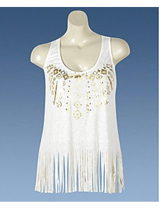 Cream Fringe Knit Top by Miss Majesty