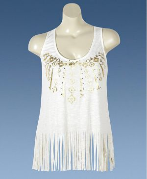 Cream Fringe Knit Top