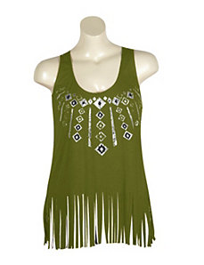 Green Fringe Top by Miss Majesty