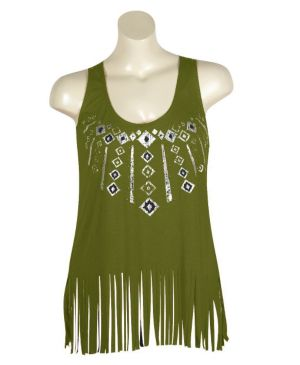 Green Fringe Top
