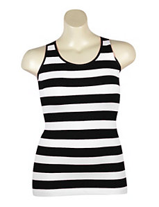Black Stripe Ribbed tank by Icon Apparel