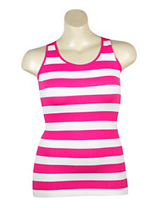 Fuchsia Stripe Ribbed Tank by Icon Apparel