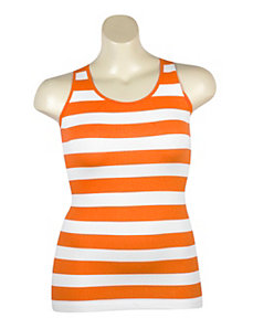 Orange Stripe Ribbed Tank by Icon Apparel
