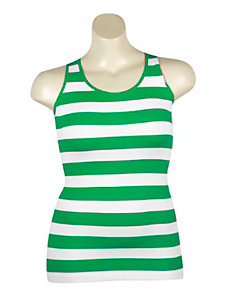 Green Stripe Ribbed Tank by Icon Apparel