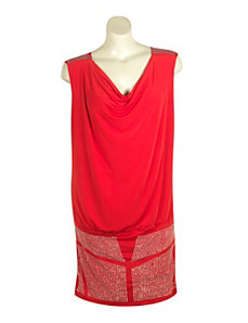 Red Rhinestone Cowl Dress by Fashion Instincts
