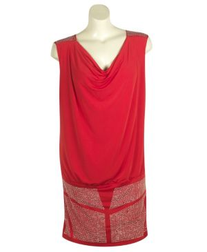 Red Rhinestone Cowl Dress