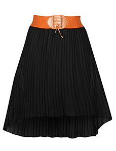 Black Hi Low Pleated Skirt by Meetu Magic